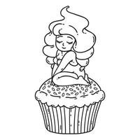 cupcake crème fee. schattig meisje op cupcake. vector