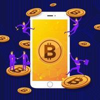 bitcoin-technologie op het scherm van de mobiele telefoon