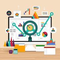 platte ontwerpconcept data-analyse. visualiseren met marketinggroei in grafieken en diagrammen. vector illustratie.
