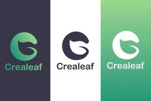letter c logo-combinatie met bladeren, natuur logo concept. vector