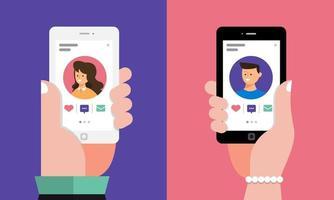 online dating-app op mobiele telefoon vector