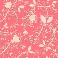 roze botanisch naadloos patroon met bladeren, takken en bloemen. repetitieve achtergrond met bloemen- en lentemotieven. elegant en delicaat behang met natuurlijke elementen. vector