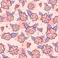 roze naadloze patroon voor de lente met sakura bloemen en paarse bladeren. repetitieve lenteachtergrond met bloemen- en kruidenmotieven. vector