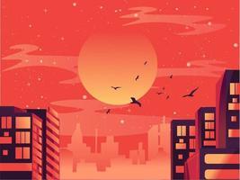 vlakke illutstratie van stadsgezicht met bedrijfsgebouwen. modern en futuristisch landschap met gloeiende neonwolkenkrabbers en constructies onder de zon. zomer centrum panorama met wolken vector