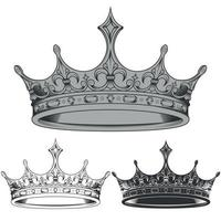vector ontwerp van zwarte en witte koninklijke kroon silhouetten