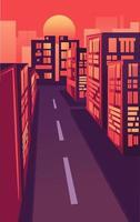 vlakke afbeelding van stadsgezicht met bedrijfsgebouwen. modern en futuristisch landschap met gloeiende neonwolkenkrabbers en constructies onder de zon. zomer centrum panorama vector