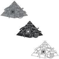Egyptische piramidesilhouet met 3d horusoog vector