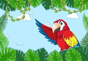 lege banner met tropische bladeren frame en papegaai vogel stripfiguur