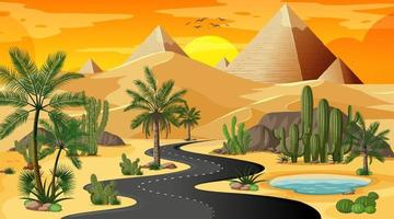 woestijnlandschap bij zonsondergangscène vector