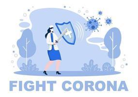 vector illustratie medische mensen in de gezondheidszorg die het coronavirus beschermen en bestrijden