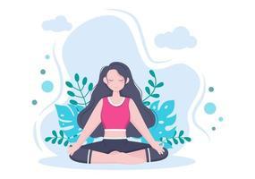 yoga- of meditatiepraktijken zijn gericht op gezondheidsvoordelen van het lichaam om gedachten, emoties, aanvang en het zoeken naar ideeën te beheersen. platte ontwerp vectorillustratie vector