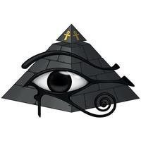 oude Egyptische piramide met 3d oog van horus vector