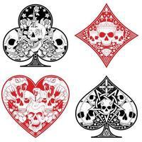 hart-, diamant-, klaver- en aaspokersymbolen met verschillende schedelontwerpen. vector