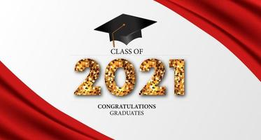 2021 klasse afstuderen met 3D-gediplomeerde dop illustratie vector