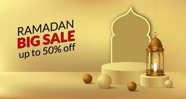ramadan grote verkoop verkoop aanbieding sjabloon voor spandoek met podiumpodium en 3d gouden lantaarndecoratie vector