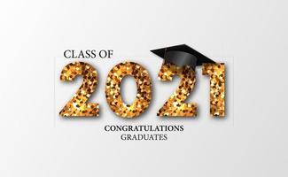 afstuderen 20212021 klasse afstuderen met 3d illustratie van de gediplomeerde dop vector