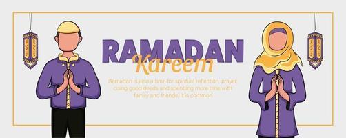 ramadan kareem banner met hand getrokken islamitische illustratie