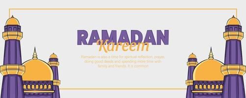 ramadan kareem banner met hand getrokken islamitische illustratie ornament