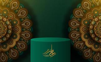 cilinderpodiumvertoning met mandala Arabische patroondecoratie met groene achtergrond vector