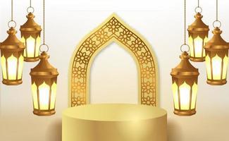 cilinderpodium met hangende 3d gouden lantaarn vector