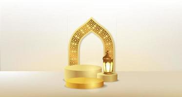 cilinder podium podium met 3d gouden lantaarn met deur moskee arabisch patroon vector
