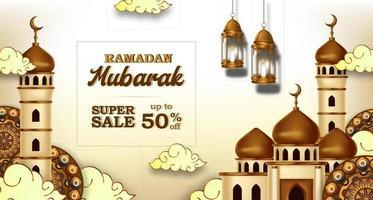 ramadan mubarak verkoop aanbieding banner luxe elegant met moskee en lantaarndecoratie vector