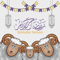 hand getrokken illustratie van ramadan kareem of eid al fitr dagen groet vector