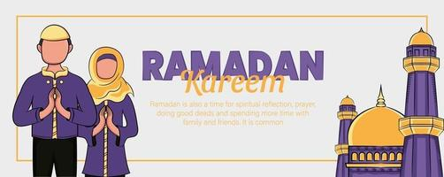 ramadan kareem banner met hand getrokken islamitische illustratie vector