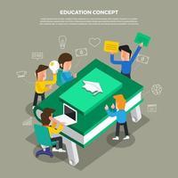 team dat een brainstormsessie over onderwijs doet vector