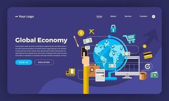 website-bestemmingspagina-mockup voor economie