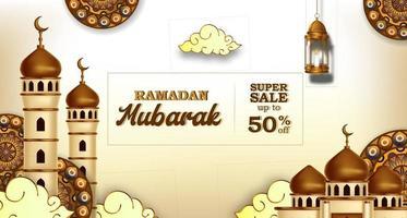 ramadan mubarak verkoop aanbieding banner luxe elegant met moskee en lantaarn mandala decoratie vector