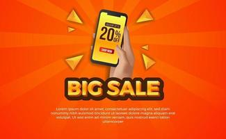 verkoopaanbieding banner met hand met telefoon