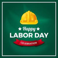 dag van de arbeid, internationale arbeidersdag democratie cultuur met gele veiligheidshelm op groene bord achtergrond. vector