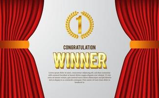 felicitatie voor het winnaarscertificaat voor het beste van wedstrijd, sport, spel, met gouden embleem, lauwerkrans en rood gordijn voor luxe elegante stijl