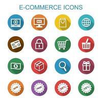 e-commerce lange schaduw pictogrammen