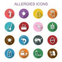 allergieën lange schaduw pictogrammen vector