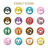 familie lange schaduw pictogrammen vector