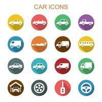 auto lange schaduw pictogrammen