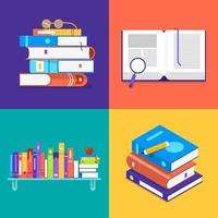 platte ontwerpset van boeken vector