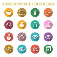koolhydraten voedsel lange schaduw pictogrammen vector