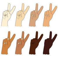 verzameling menselijke etnische handen met verschillende huidskleur. handgebaar - toont twee vingers. gebaar nummer twee of gebaar v is overwinning. vector tekening