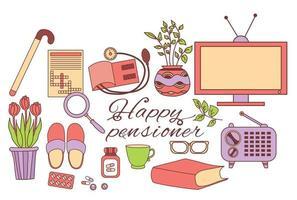 gekleurde set van gelukkig gepensioneerde iconen