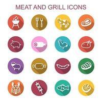 vlees en grill lange schaduw pictogrammen
