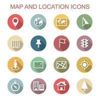 kaart en locatie lange schaduwpictogrammen vector