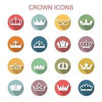 kroon lange schaduw pictogrammen vector