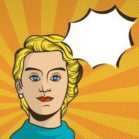 Vlak Vrouwenpop-art met Uitstekende Duotone-Vectorillustratie Als achtergrond