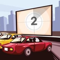 rijden in de bioscoop in retrostijl