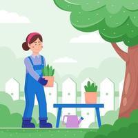 thuis tuinieren in plat design vector