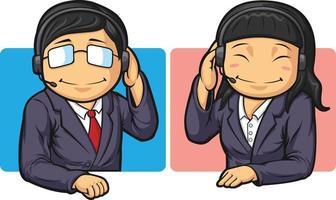 call center operator klantenservice werknemer hotline cartoon vector