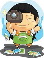 fotograaf meisje nemen foto dslr camera cartoon vector tekening